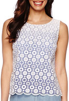 Liz Claiborne Sleeveless Lace-Front Ombre Shell Shirt