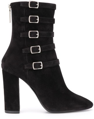 Saint Laurent Lou buckle detail 100mm boots