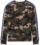 Valentino Slim-fit Camouflage-print Cotton-blend Jersey Sweatshirt - Army green
