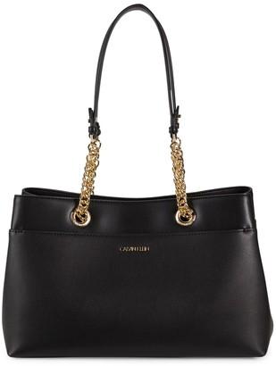 Calvin Klein Chain-Strap Leather Tote