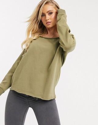 Asos DESIGN off shoulder sweatshirt with raw edge in khaki