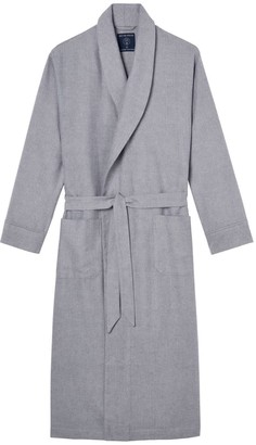 British Boxers Men's Ash Grey Herringbone Brushed Cotton Dressing Gown