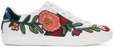 Gucci White Floral Ace Sneakers