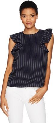 J.o.a. Women's Ruffle Sleeve Stripe Top