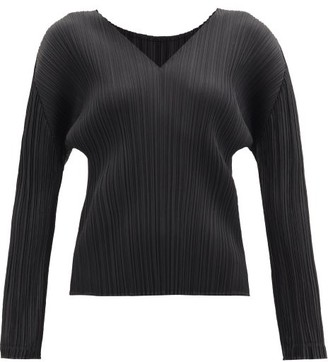 Pleats Please Issey Miyake V-neck Technical-pleated Top - Black