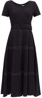 Goat Kelly Belted Topstitched Wool Midi Dress - Black
