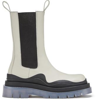Bottega Veneta Round Toe Flat Boots in Wax & Black | FWRD