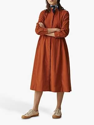 Toast Needlecord Swing Shirt Dress, Persimmon