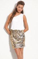 Way-In Sequin Skirt One Shoulder Dress (Juniors)