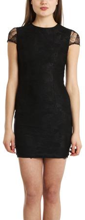 L'Agence Short Sleeve Lace Overlay Dress