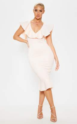 PrettyLittleThing Blush Plunge Frill Detail Scuba Midi Dress