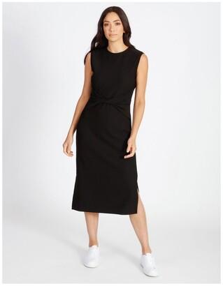 Basque Twist Bodice Ribbed Jersey Dress