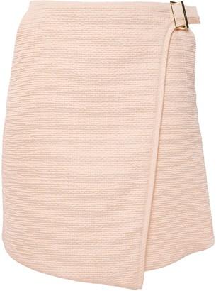 Carven Cloque Mini Wrap Skirt