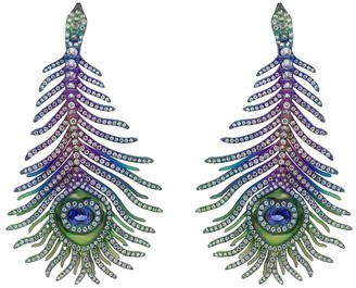 SABOO FINE JEWELS Elemento peacock feather diamond earrings