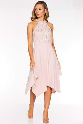 Quiz Blush Pink Sequin Lace High Neck Midi Dress