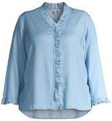 Thumbnail for your product : NIC+ZOE, Plus Size Ruffle Woven Denim Shirt