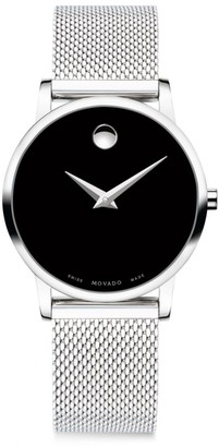 Movado Museum Classic Black Dial, Stainless Steel Mesh Bracelet Watch