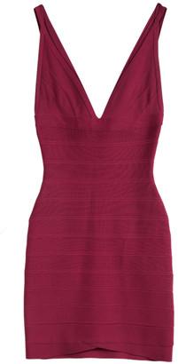 Herve Leger Rouge Pink V-Neck Sleeveless Bandage Dress XS