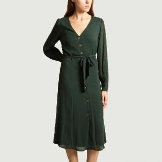 Jolie Jolie - Forest Green Viscose Buttoned and Belted Ninon Dress - xs | forest green | viscose - Forest green