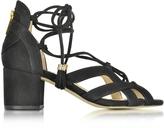 Michael Kors Mirabel Black Suede Mid Heel Sandal