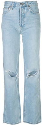 RE/DONE high-rise distressed straight leg jeans