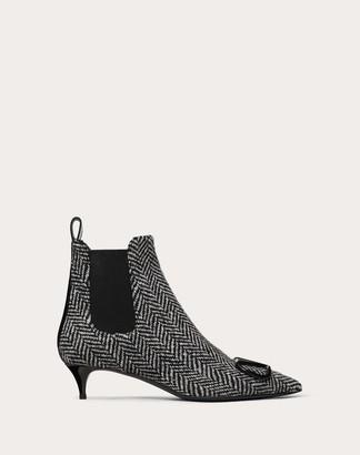 Valentino Vlogo Chevron Fabric Ankle Boot 40 Mm Women Black Polyester 74%, Elastane 26% 36