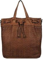 Wilsons Leather Womens Vintage Drawstring Leather Tote W/ Strap And Woven Front