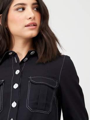 Very Top Stitch Short Sleeve Casual Shirt - Black