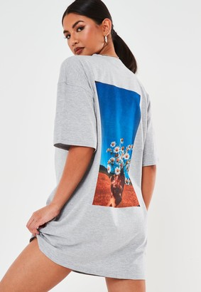 Missguided Grey Oversized Daisy Graphic Back T Shirt Dress