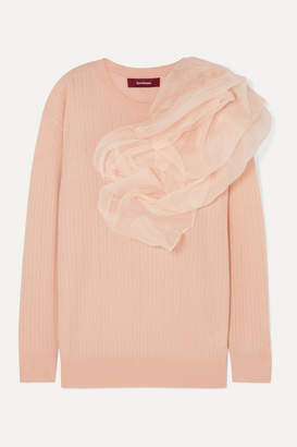 Sies Marjan Awa Silk Organza-appliqued Stretch-wool And Cashmere-blend Sweater - Blush