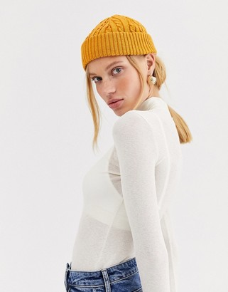 Asos DESIGN recycled cable mini fisherman beanie hat