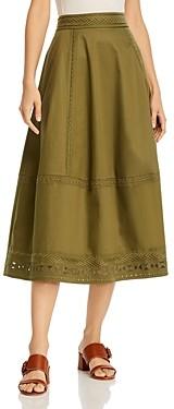 Elie Tahari Embroidered Midi Skirt