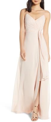 Jenny Yoo Collection Amara Chiffon Overlay V-Neck Evening Dress
