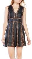 BCBGMAXAZRIA Val Faux Leather & Lace Dress