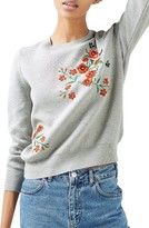 Topshop Women's Poppy Embroidered Sweater
