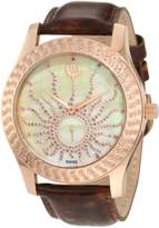 Brillier Women's 03-32325-08 Kalypso Rose-Tone Brown Leather Watch