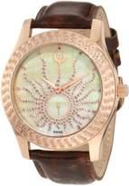 Brillier Women's 03-32325-08 Kalypso Rose-Tone Brown Leather Watch