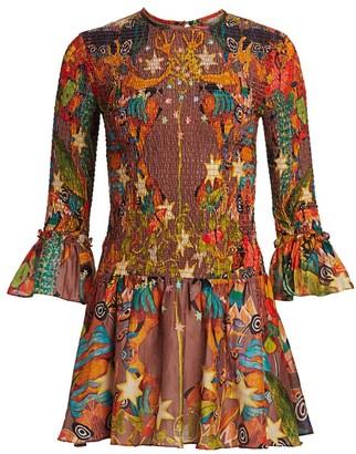 CHUFY Khuayana Bell-Sleeve Smocked Mini Dress