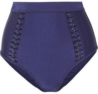 Zimmermann Bowie Button-embellished Bikini Briefs - Navy
