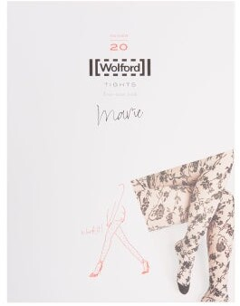Wolford Marie Floral-jacquard Tights - Womens - Black Print