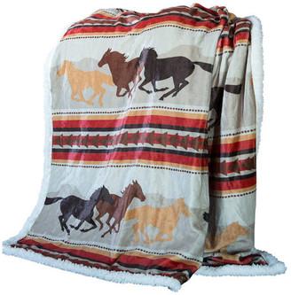 Wrangler Carstens Running Horse Country Sherpa Fleece Throw Blanket, 5
