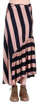 Stella McCartney Gathered-Ruffle Wide-Striped Maxi Skirt, Pecan/Ink