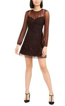 Foxiedox Lilia Heart-Print Illusion Dress