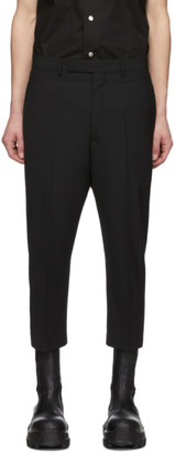 Rick Owens Black Wool Astaires Cropped Trousers