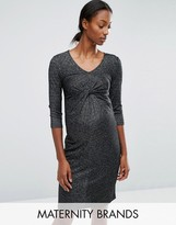 Mama Licious Mama.licious Mamalicious Glitter Knot Front Jersey Dress