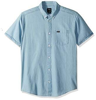 RVCA Men's Dead Flag Washed Short Sleeve Woven Button Front Shirt