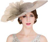 HomArt Women's Spring Summer Large Brim Kentucky Derby Hat Tea Party Feather Hat