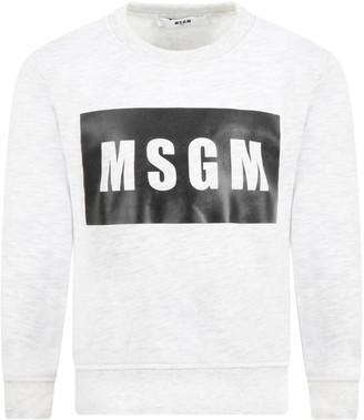 MSGM Grey Sweatshirt For Kids With Logo