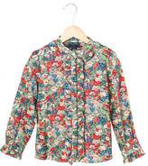 Oscar de la Renta Girls' Long Sleeve Floral Print Top