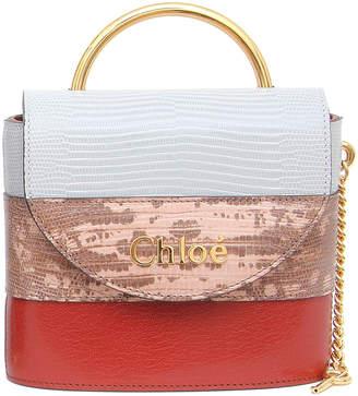 Chloé Aby Lock Lizard-Embossed Shoulder Bag